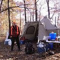 Our tent camp in the Ozark mountains with my friend James from New Zealand.